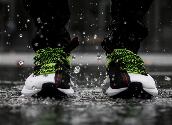 running shoes in the rain