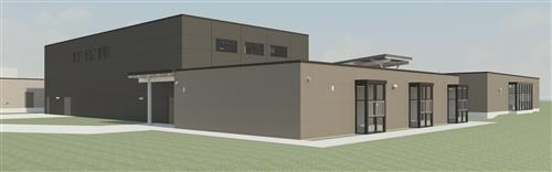 Picture of architect rendering of new gym and 6 north east classrooms.