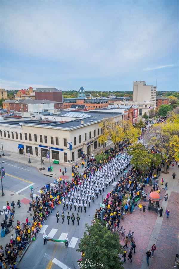 West High Trojan Marching Band in Downtown Iowa City