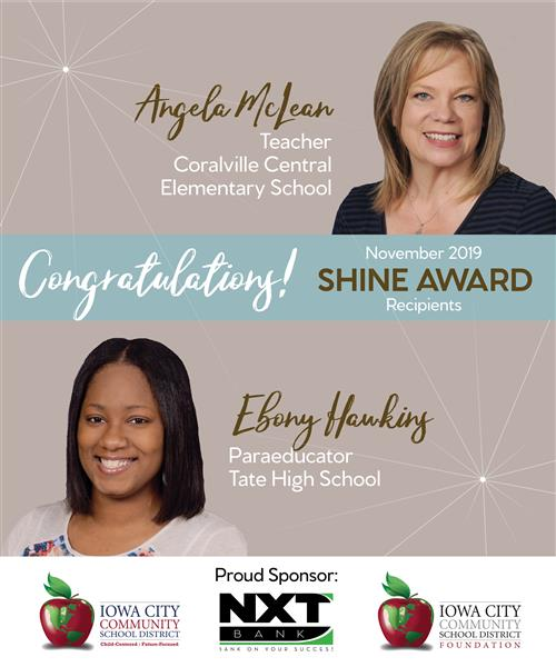 Angela McLean and Ebony Hawkins November 2019 Shine Award Recipients