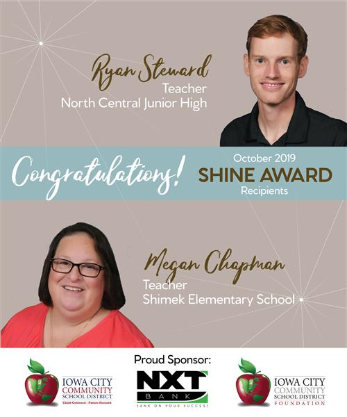 Ryan Steward and Megan Chapman October 2019 Shine Award Recipients
