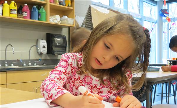 Borlaug Kindergarten Student Working in Art Class