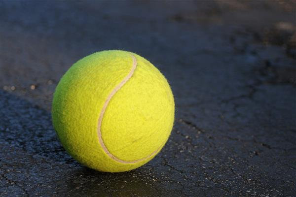 Yellow tennis ball on black pavement