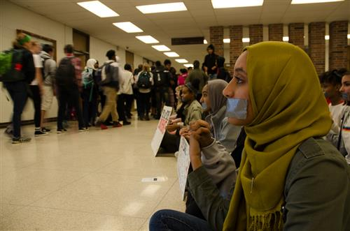 Students at West High school engage in a sit-in.